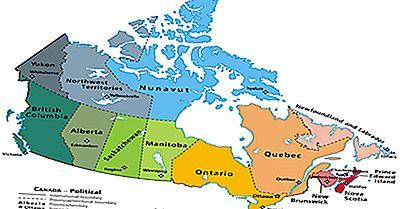 As Maiores E Menores Províncias Canadenses / Territórios Por Área