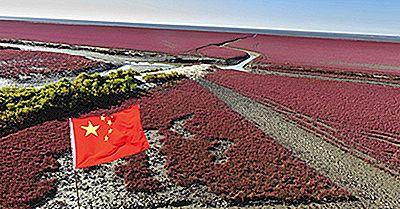 Panjin Red Beach, Chine, Lieux Uniques Dans Le Monde