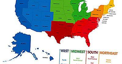 Den Offisielt Anerkjente Fire Regioner Og Ni Avdelinger I USA
